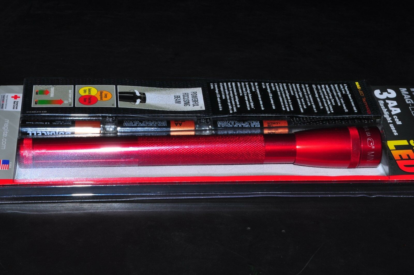 MAGLITE SP2303H 3-AA Cell Mini LED Flashlight with Holster RED Made in USA NEW